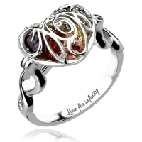 Caged Heart Birthstone Ring with Infinity Band Platinum Plated