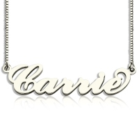 Personalized Carrie Name Necklace & Box Chain Silver