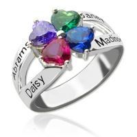 Personalized Mothers Name Ring with Birthstone Sterling Silver