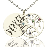 Engraved Family Tree Necklace with Birthstones Silver