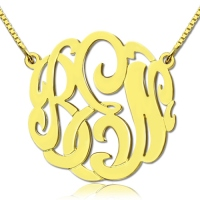 18K Gold Plated Large Monogram Necklace Hand-painted