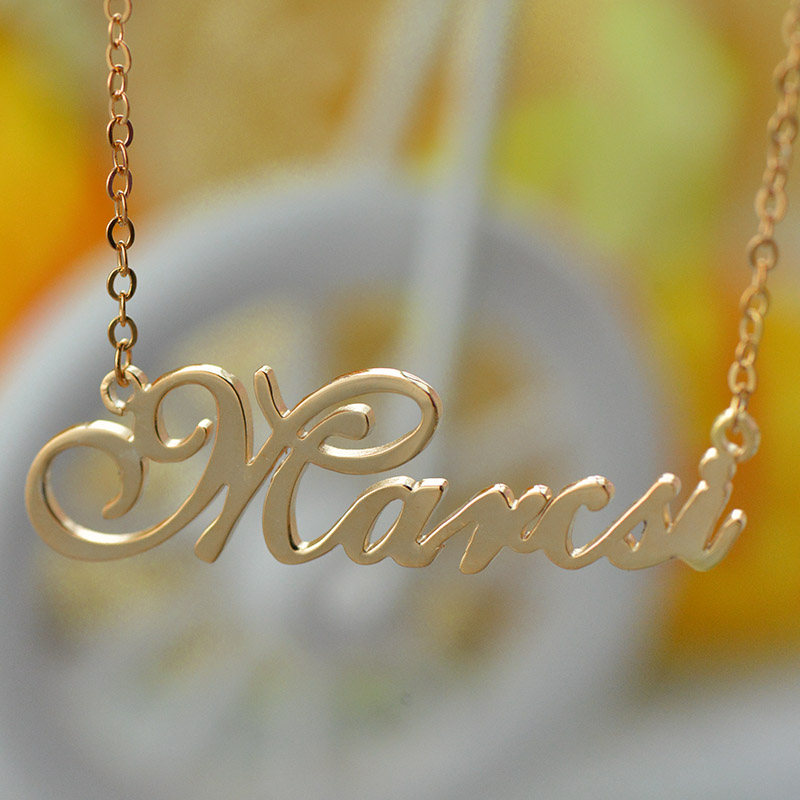 Custom nameplate necklace 18k rose gold plated for Rose gold personalized jewelry