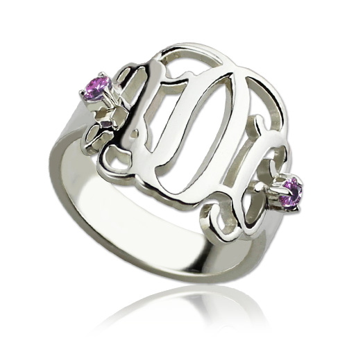 Script Monogram Rings For Women With 2 Birthstone Sterling