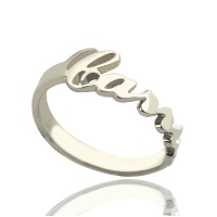 Personalized Carrie Style Cut Out Name Ring Silver