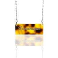 Personalized Carrie Style Tortoise Acrylic Bar Name Necklace