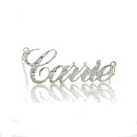 Carrie Silver Glitter Acrylic Name Necklace