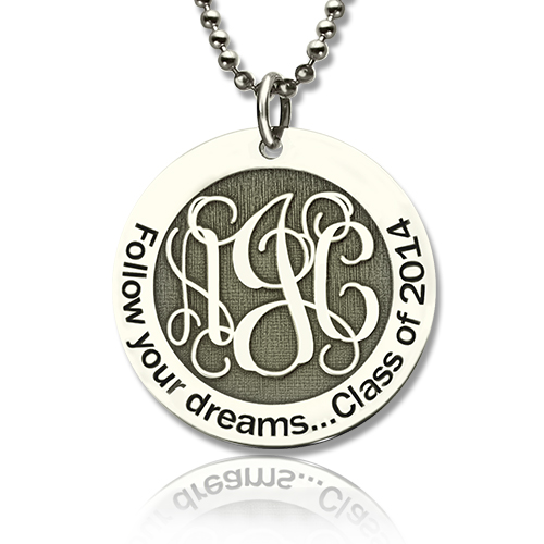 Personalized Class Graduation Monogram Necklace Sterling Silver