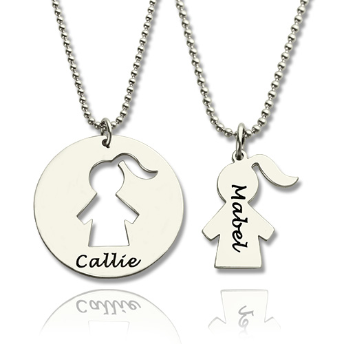Mother Daughter Necklace Set Engraved Name Sterling Silver