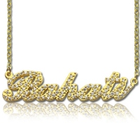 18K Gold Full Birthstone Carrie Name Necklace