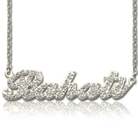 Silver Full Birthstone Carrie Name Necklace