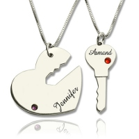 Key to My Heart Name Pendant Set For Couple