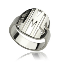 Personalized Cut Out Block Monogram Ring Sterling Silver