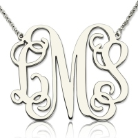 "Personalized 1.65"" XL Monogram Necklace In Sterling Silver"