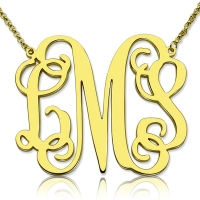 "Personalized 1.65"" XL Monogram Necklace 18K Gold Plated"