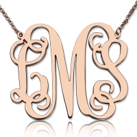 "Personalized 1.65"" XL Monogram Necklace In Rose Gold"