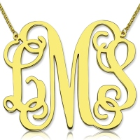 "Personalized 2"" XXL Monogram Necklace 18k Gold Plated"