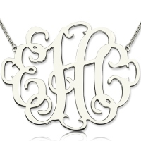 "Personalized 2"" XXL Stylish Monogram Necklace Sterling Silver"