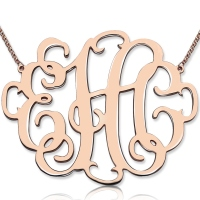 "Personalized 2"" XXL Stylish Monogram Necklace In Rose Gold"