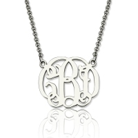 Personalized Small Celebrity Monogram Necklace In Sterling Silver