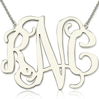 "Personalized 2"" XXL Celebrity Monogram Necklace Sterling Silver"