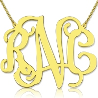 "Personalized 2"" XXL Celebrity Monogram Necklace 18K Gold Plated"