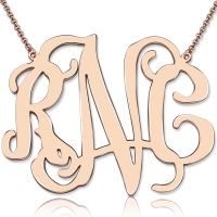 "Personalized 2"" XXL Celebrity Monogram Necklace In Rose Gold"