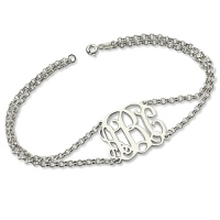 Personalized Double Chain Monogram Bracelet Sterling Silver