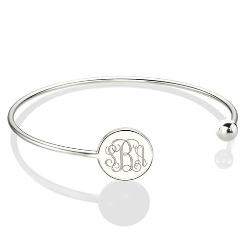 Disc Monogram Bangle Bracelet Sterling Silver - Adjustable