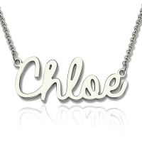 Personalized Cursive Style Name Necklace In Sterling Silver