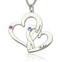 Two Heart Mother Daughter Name Necklace