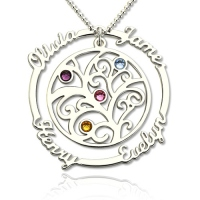 Silver Birthstone Family Tree Necklace with Name for Mothers
