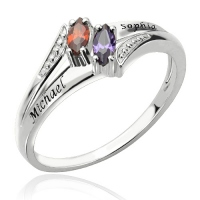 Two Name Birthstones Couple Ring