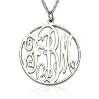 Personalized Necklace Fancy Circle Monogram Necklace Silver