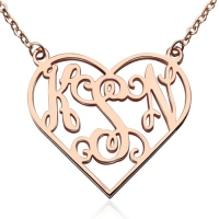 Cut Out Heart Monogram Necklace 18K Rose Gold Plated