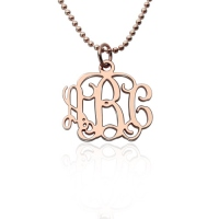"Personalized 0.72"" Small Monogram Necklace In Rose Gold"