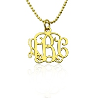 "Personalized 0.72"" Small Monogram Necklace 18K Gold Plated Silver"
