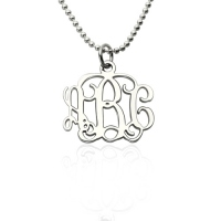 "Personalized 0.72"" Small Monogram Necklace In Sterling Silver"