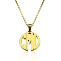 Custom XS Block Monogram Necklace Gold Plated Silver
