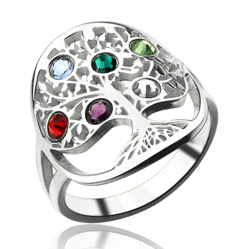 Family Tree Ring with Birthstones Sterling Silver