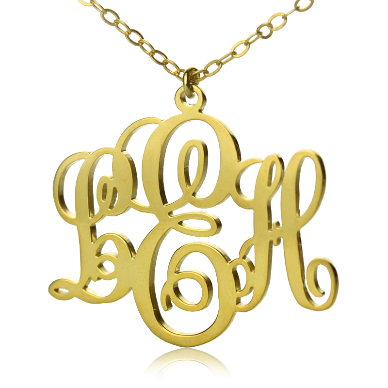 initial monogram necklace solid gold