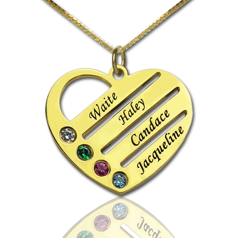Mothers Day Gifts Gold Plate Birthstone Heart Mothers