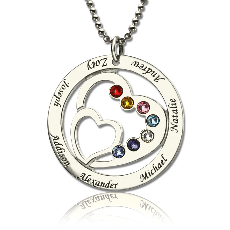 Moms gift heart in heart birthstone necklace with kids name