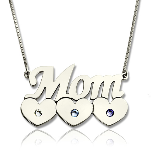 mommy jewelry mother necklace with children birthstone. Black Bedroom Furniture Sets. Home Design Ideas