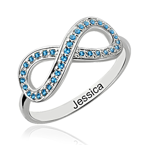 birthstone infinity promise ring gift sterling silver