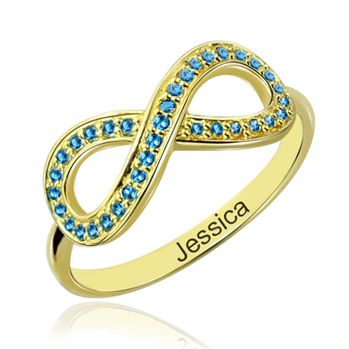 birthstone infinity promise ring gift 18k gold plated
