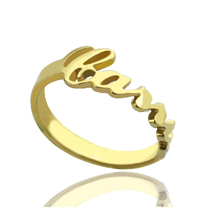 custom carrie name rings 18k gold plated