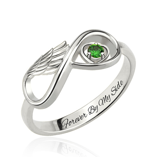 Angel Wing Infinity Heart Ring with Birthstone Platinum Plated