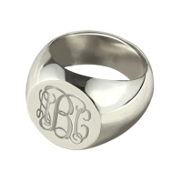 Signet Ring Sterling Silver Engraved Monogram