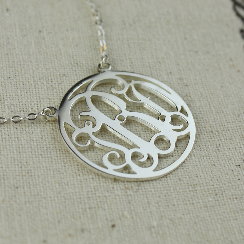 circle solid white gold initial monogram name necklace. Black Bedroom Furniture Sets. Home Design Ideas
