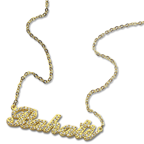 18k gold birthstone carrie name necklace